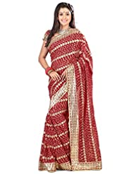 Designer Noticeable Red Colored Embroidered Faux Georgette Saree By Triveni