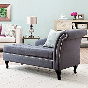 Storage Chaise Lounge Luxurious Tufted Classic Traditional Style