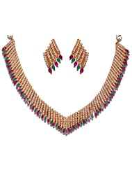 Gehna Pearl Ruby & Emerald Color Stone Studded Necklace Set With Yellow Rhodium