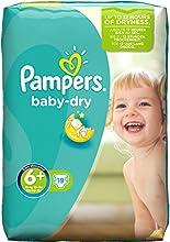 Pampers Windeln Baby Dry Gr. 6+ Extra Large Plus 16+ kg Sparpack, 4er Pack (4 x 19 Stück)