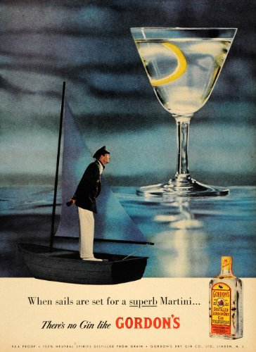 Gordon's Gin Martini 1957 Display Ad