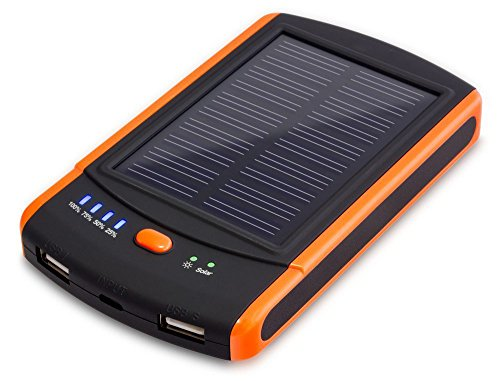 JJF Bird TM Mp-s6000 Power Bank - Portable Mobile External Battery Charger with Solar Panel and 6000mah - 2x USB 2.1a Max Output for Cell Phone, Smart Phone, Iphone, Ipod, Pda, Mp3-player