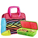 Bella Kids' Lunch Bag Kit with Meal Carrier & Water Bottle (Rainbow Zebra)