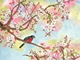 """This Is the Perfect Spot"", a Robin Perches in a Cherry Blossom Tree, Giclee Print of Original Sumi-e Flower Painting, 14 X 18 Inches"