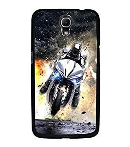 Fuson Premium 2D Back Case Cover Man on bike With Multi Background Degined For Samsung Galaxy Mega 6.3 i9200::Samsung Galaxy Mega 6.3 i91200