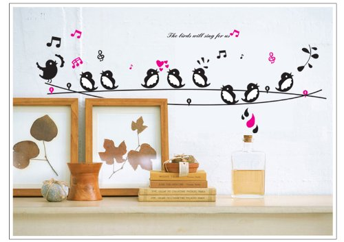 Home Decor Decals Poster House Wall Stickers Quotes Removable Vinyl Large Wall Sticker For Kids Rooms Mural Music Label Bird W-21 front-121356