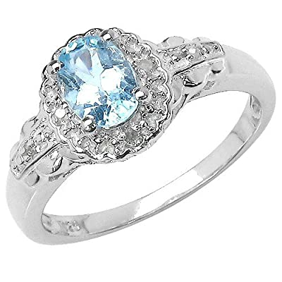 The Blue Topaz Ring Collection: Ladies Sterling Silver Oval Blue Topaz & Diamond Cluster Engagement Ring with Diamond Set Shoulders