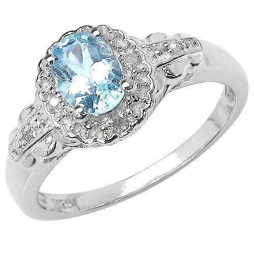 The Blue Topaz Ring Collection: Ladies Sterling Silver Oval Blue Topaz & Diamond Cluster Engagement Ring with Diamond Set Shoulders (Size P)