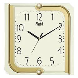 Ajanta Quartz Plastic Wall Clock (26.3 CM X 24.7CM), Ivory
