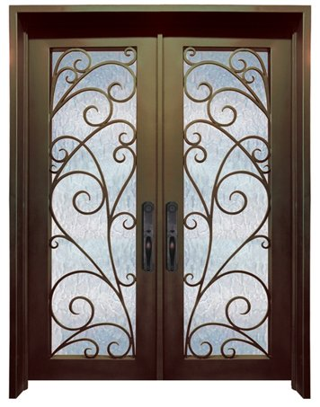 WI-7B Pre-hung wrought iron security entry doors with multi locking system