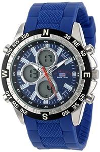 U.S. Polo Assn. Sport Men's US9137 Blue Silicone Analog Digital Watch