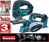 Makita BKP180Z 18V Li-Ion 82mm Cordless Planer Plus BJV180Z 18V Li-Ion Jigsaw (Bare Unit)