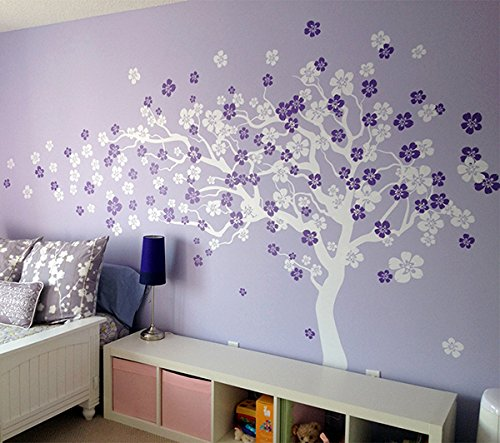 Pop Decors Removable Vinyl Art Wall Decals Mural, Cherry Blossom Tree/White/Violet