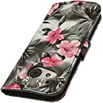 iGadgitz 'Vintage Collection' Wallet Flip Pink on Black Floral PU Leather Case Cover for HTC One MINI 2 2014 HTC One Remix ( M8 Mini ) With Card Slots + Viewing Stand + Magnetic Closure + Screen Protector