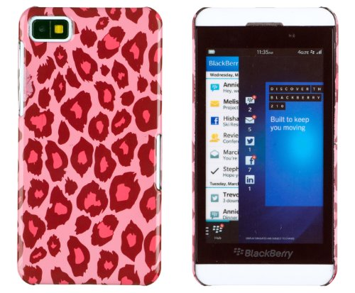 Hot Pink Leopard Print Hard Case For Blackberry Z10 + Dandycase Keychain Screen Cleaner [Retail Packaging By Dandycase]
