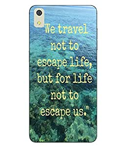 Case Cover Traveling Slogan Printed Blue Hard Back Cover For LYF WATER 8