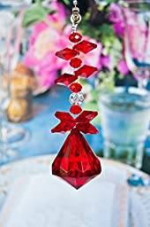 2 of Crystal Diamond Ceiling Lighting Fan Pulls Chain - Red