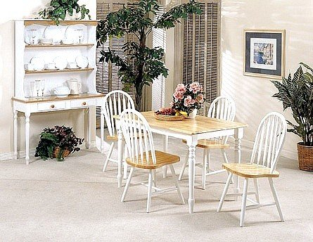 5PC White and Natural Finished Dining Table and Chairs Set