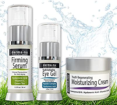 Skin Care Products for Anti Aging - Facial Treatments for the Skin - The Most Effective Skincare for Wrinkles - Hyaluronic Acid Serum - Eye Wrinkle Cream - Anti Aging Skin Cream - 3 Piece Skin Care Kit