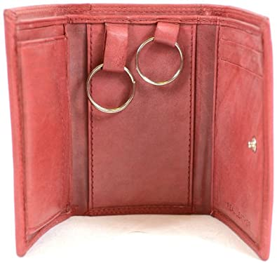 Soft Leather Pocket Purse / Wallet, Key Rings, Credit Card Slots & Coin Pocket - Dark Red