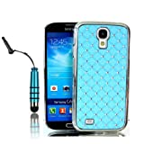 Poposh Mobile Phone Accessory For Samsung Galaxy S4 Mini i9190 2IN1 1X 3D Bling Bling Star Rhinestone Diamond Protective Hard Back Case Cover Crystall Shell Mirror + 1x Mini Stylus Touch Pen Writing Pen- Sky Blue Baby Blue