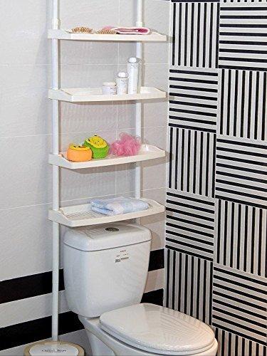 Étagère 4 étages Hauteur réglable sans vis pour Cuisine Salle de bain