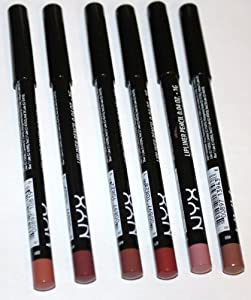NYX Cosmetics Long Lasting Slim Lip Liner Pencils 6 Colors: Coffee, Mahogany, Ever, Soft Brown, Pale Pink, and Nude Beige