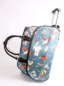 Blossom Birds Blue Wheeled Trolley Bagwheeled Luggagecabin Luggage Holdall
