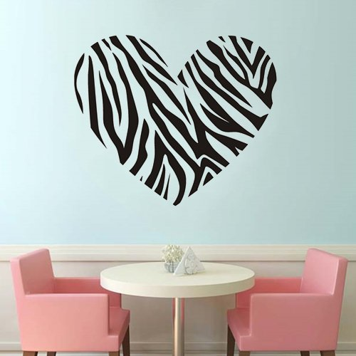 """Colorfulhall 23.7"""" X 27.6"""" Diy Black Zebra Horse Print Stripe Heart Wall Decals Wall Sticker Removable Vinyl Bedroom Dorm Living Room Nursery And Home Apartment Decoration front-632489"""
