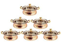 IndianArtVilla 3.5 X 6.0 X 2.5 Handmade High Quality Stainless Steel Copper Casserole Dish Serving Indian Food Daal Curry Set of 6 Handi Bowl With Glass Tumbler Lid Capacity 500 ML for use RestaurantGift Item