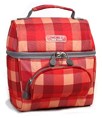 J World New York Corey Lunch Bag, Check Red, One Size