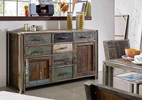 Massivholz lackiert Metall massiv Möbel Sideboard Altholz mehrfarbig Massivmöbel Möbel massiv New York #14