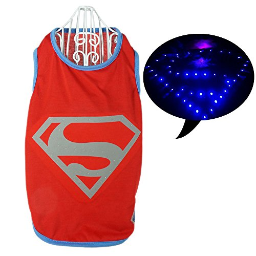 Pawow LED Light up Superman Pet Costume Puppy Dog Cotton T-shirt, Medium, Red