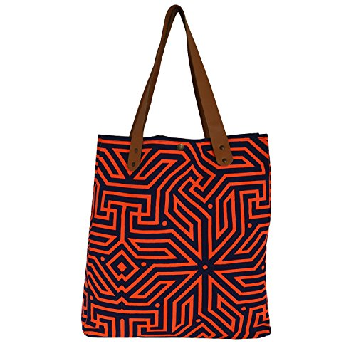VandaSF Aztec Tote Bag in Orange and Navy – Natural Canvas Tote Bag with Leather Handle – Waterproof Fabric Beach Bag Lining – Perfect Utility and Grocery Tote – Handmade Tote Bags for Women and Men