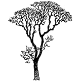 Black Bare Autumn Tree Branches Wall Decal Sticker 6ft Tall by Stickerbrand - Easy to Apply and Removable - Made in the USA - No Mess, No Paint, No Glue or Paste, No Residue ≈ Safer than wallpaper - Black color #240A