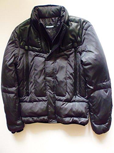 Dirk Bikkembergs Uomo Piumino down jacket, Piumino da uomo, grigio giacca con applicazioni in pelle dimensioni; 48