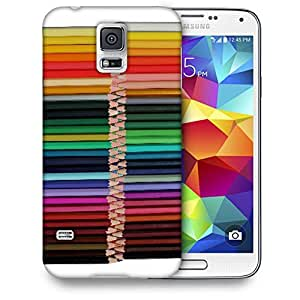 Snoogg Colored Pencils Printed Protective Phone Back Case Cover For Samsung S5 / S IIIII