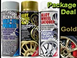 E-Tech Professional GOLD Car Alloy Wheel Spray Paint & High Gloss Clear Lacquer & Self Etch Primer Spray Can Refurbishment Pack