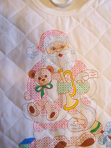 Standing Santa with Horn Stamped Cross Stitch Baby Bib
