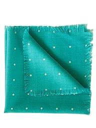 Elizabetta Italian Wool Pocket Square Handkerchief, Turquoise Polka Dot