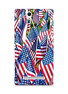 Amez designer printed 3d premium high quality back case cover for Sony Xperia C3 D2502 (American flags)