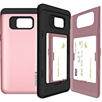 Galaxy Note 7 Case, SKINU Note 7 [EUREKA] [Rose Gold] [Shockproof] [Dual Layer] [Card Slot] [Drop Protection] [Wallet] with Mirror Samsung Galaxy Note 7 (2016) - Rose Gold