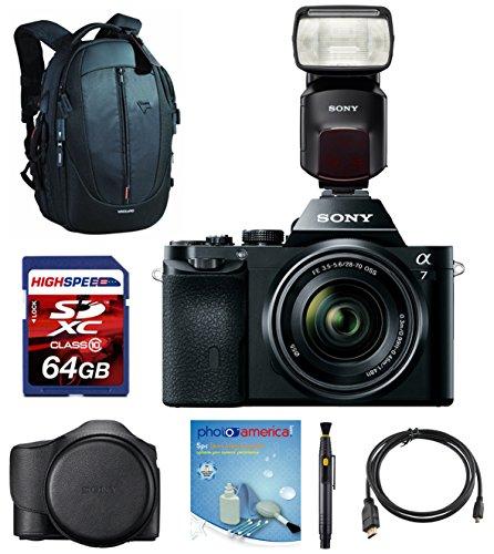 Sony (Alpha 7K) a7K ILCE7K/B w/ Sony HVLF60M Flash, Sony Case LCSELCA, Vanguard Backpack, 64GB