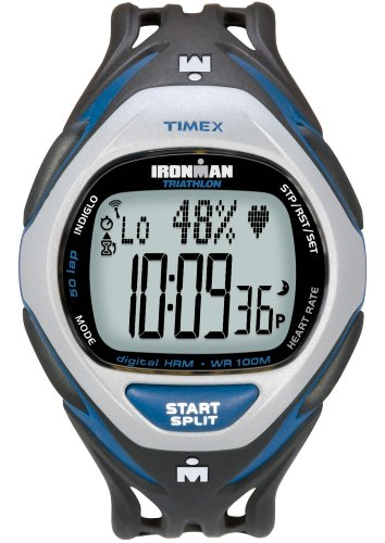 Cheap Timex Ironman Men's Race Trainer Heart Rate Monitor Watch, Black/Blue, Full Size (T5K216F5)