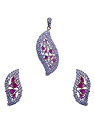 Gehna Ruby & CZ Stone Studded Leaf Style Pendant & Earrings Set
