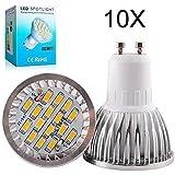 Elinkume 10X GU10 Ampoules LED 6W Lampe Bulb 16 SMD 5630 LED Spot Ampoule Lampe 500LM Super Lumineux lampe de salon Blanc Chaud (3000K) AC 90-240V