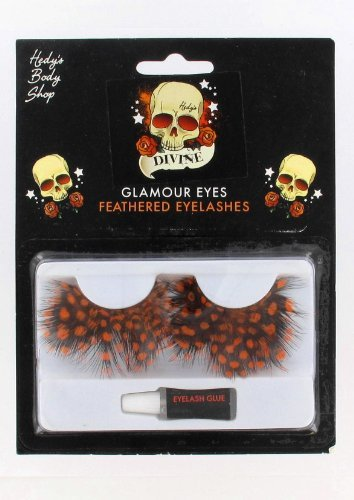 Orange Feathered, Glamour Eyes, Polka Dot Halloween Costume Eyelashes Accessory - 1