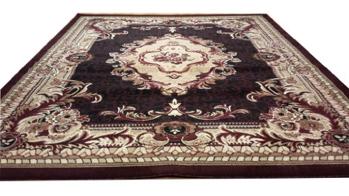 E521 French Aubusson Victorian Traditional Medallion Black Burgundy Hand Carved 5x8 Actual Size 5'3x7'2 P59.jpg