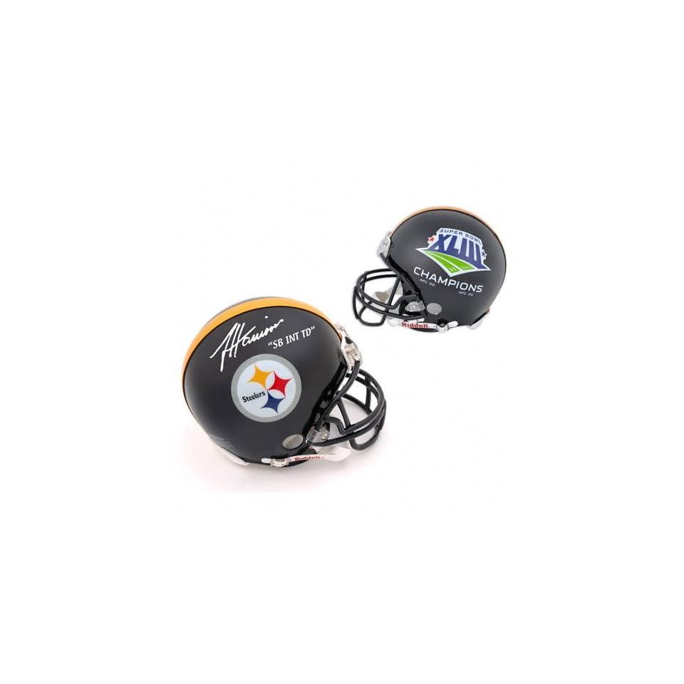 James Harrison Autographed Pro Line Helmet  Details Pittsburgh Steelers, Super Bowl XLIII Steelers Logo and Score, Authentic Riddell Helmet, SB Interception TD Inscription