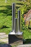 Köhko 85 cm Springbrunnen 22003 aus Edelstahl mit LED-Beleuchtung Säulenbrunnen